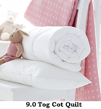 Homefurnishing Baby Cot Bed Anti-Allergy Poly-cotton Duvet/Quilt Or Pillow, Toddler, Junior, Nursery, 4.5 Tog, 7.5 Tog, 9.0 Tog (9.0 Tog Quilt + Cot Pillow)