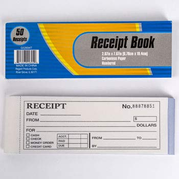 Receipt Book Numbered 50 Count 2.67 x 7.67 inches Carbonless Paper, Case of 48 by DollarItemDirect