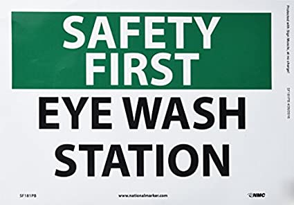 nmc sf181pb osha sign legend safety first eye wash station - Eye Wash Station Osha