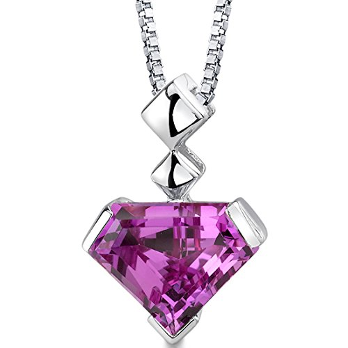 (Superman Cut Created Pink Sapphire Sterling Silver Pendant 6.25)