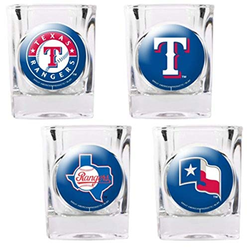 Texas Rangers 4 Piece Assorted Shot Glass - 4 Piece Rangers Square