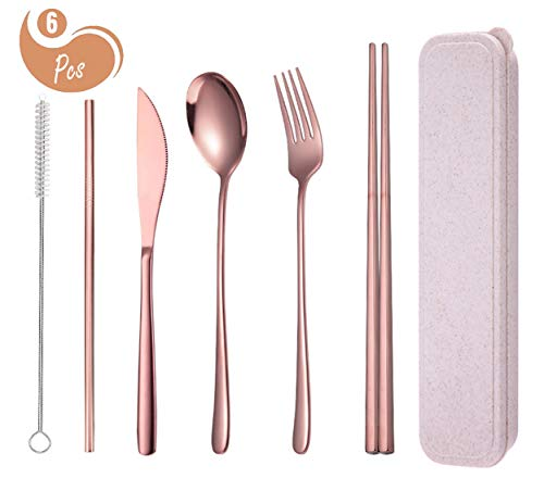 AARainbow 4 Pieces Stainless Steel Dinnerware Set, Chopsticks/Knife/Fork/Spoon, Portable Dishwasher Safe(Rose Gold)