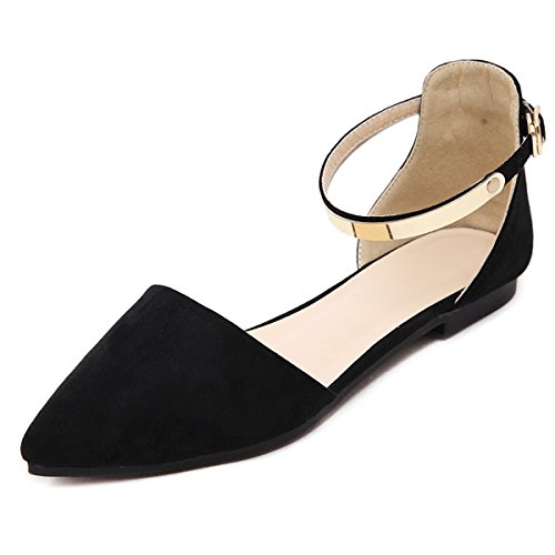 Ankle Strap Flat Shoes (VFDB Womens D'Orsay Ballet Flats Summer Ankle Strap Pointy Toe Sandals Shoes)