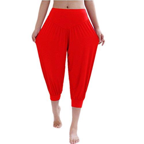 (YoYoiei Womens Solid Color Soft Elastic Spandex Knickers Yoga Pants Harem Pants Red S )