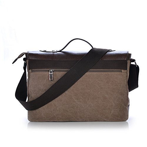 Cover Bags Delamode Men Document Backpack Shoulder Khaki Business Laptop Messenger Coffee Leather wrZtxZ7n