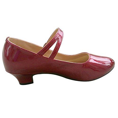 3 Leder Weinrot 5 Absatz Gummisohle Latin PU Dance Walzer Schuhe Ferse Glitter Ballsaal Kätzchen Tango Salsa Damen Rxg6wpqw