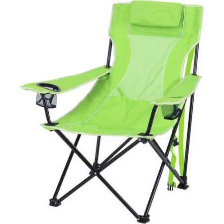 Ozark Trail Durable, Oversized Mesh Lounge Folding Outdoor, Beach, Camp Chair- Includes Carrying Bag- Lime Green