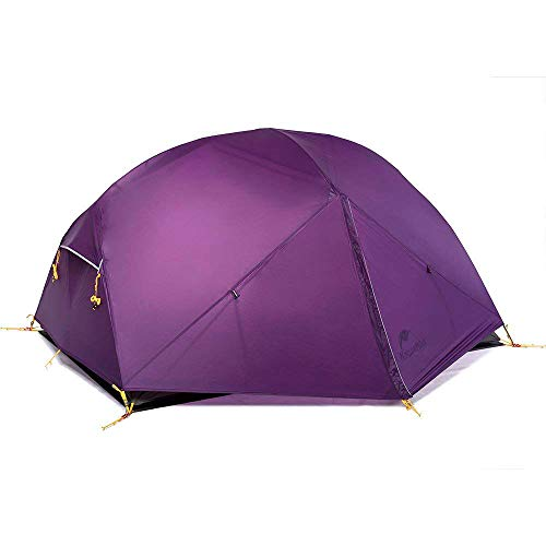 Naturehike Mongar 2 Person Backpacking Tent 3 Season Free-Standing Lightweight Hiking Tent with Tent Fly for Outdoor Activities (Purple)