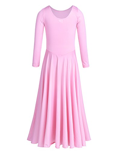 Swing Dance Halloween Costume (TiaoBug Girls Long Sleeves Round Neck Loose Fit Ballet Dance Dress Stretchy A Line Skater Skirt Dance Costume Pink 11-12)