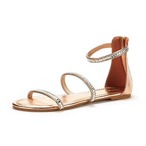 DREAM PAIRS Women's Athena_Shine Rose Gold Fashion Gladiator Design Ankle Strap Flat Sandals Size 5 M - Shine Rose