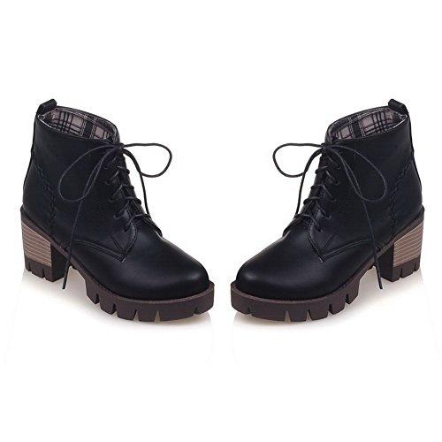 BalaMasa Girls Bandage Kitten-Heels Platform Imitated Leather Boots Black PYLG9Jo3n