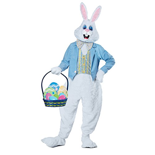 California Costumes Men's Deluxe Easter Bunny Costume, White/Blue, Large/X-Large -