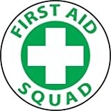 NMC HH41 2'' x 2'' PS Vinyl Hard Hat Emblem w/Legend: ''First Aid Squad'', 12 Packs of 25 pcs