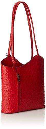 Morral Verdadera Fabricado Rosso avestruz Italia piel en 100 de Rojo de de CTM Piel mujer 48d4F