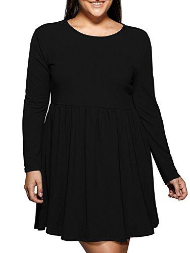 LouKeith Women Plus Size Long Sleeve Winter Dress Loose Swing Pleated T Shirt Dress Black 14