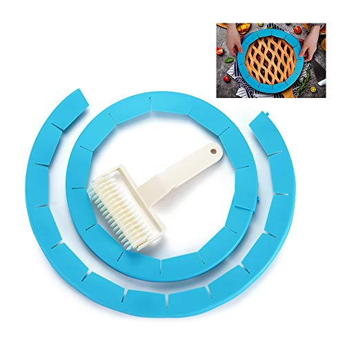 AOMGD 2pcs Adjustable Pie Crust Protector Shield + 1pcs Lattice Pie Cutter Roller, FDA Food Safe Silicone Pizza/Pastry Tools and Accessories,Fits 8.5