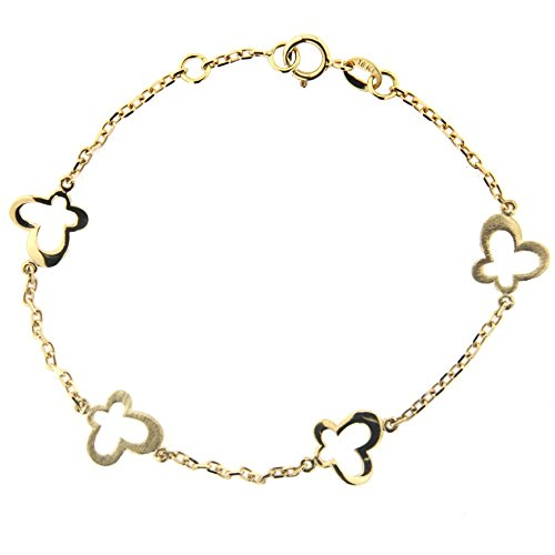 18K Yellow Gold Open Polished and Satin Butterflies Bracelet 6 inches with extra ring at 5.50 inch by Amalia