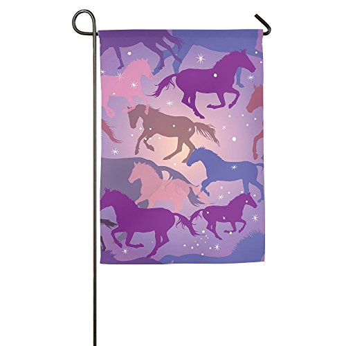 POIUYT FLAG Garden Flag - Horses On Purple Background Unique