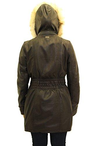 Las se–oras de cuero real con capucha Casual chaqueta entallada Estilo Negro