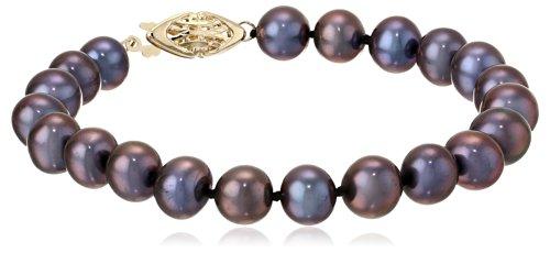 14k Yellow Gold 7-8mm Dyed Black Freshwater Cultured Pearl AA Grade Bracelet, (7mm Aa Freshwater Pearl Bracelet)