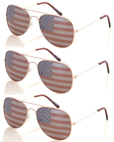 Shaderz USA America Gold Aviator Sunglasses - Great Accessory for 4th of July - Set of 3
