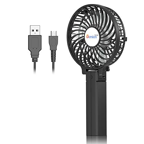 Fan Motor Insulation - Mini Handheld Fan, VersionTECH. USB Desk Fan, Small Personal Portable Stroller Table Fan with USB Rechargeable Battery Operated Cooling Folding Electric Fan for Travel Office Room Household Black