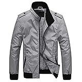 Men's Long Sleeve Zipper Jacket,Clearance!! Males Pockets Coat Plus Size Slim Fit Solid Baseball Outwear
