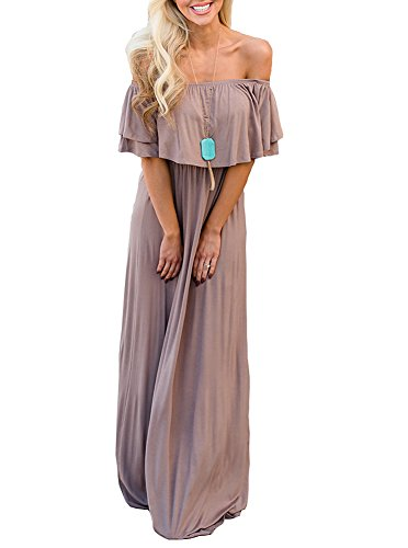 (ReoRia Women Summer Casual Off Shoulder Loose Ruffles Long Maxi Dresses with Sleeves Maternity Dress Light Coffee Medium)