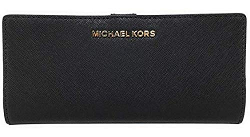 Michael Kors Jet Set Travel Flat Slim Bifold Saffiano Leather Wallet (Black)