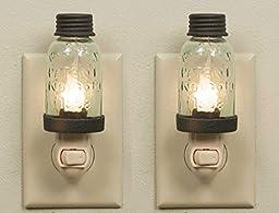 Colonial Tin Works Wrought Mason Jar Antique Style Nightlight, Set of 2 Nightlights