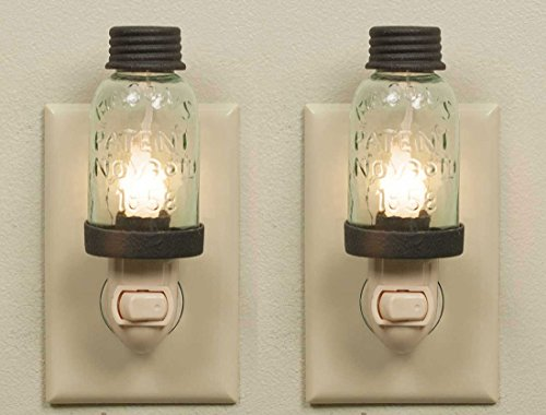 Colonial Tin Works Wrought Mason Jar Antique Style Nightlight, Set of 2 Nightlights