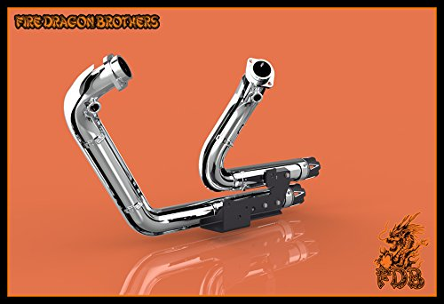 Chrome or Matte Black Dual Exhaust System Slip On Muffler Pipe with CNC Tip for 2004 2005 2006 2007 2008 2009 2010 2011 2012 2013 Harley Sportster XL883 XL1200 Iron 883 48 72 (Chrome+Tip 1) by Protek Sports (Image #5)