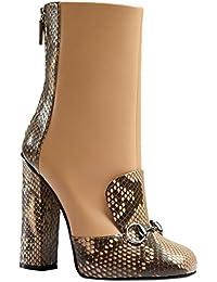 Women's Beige Python & Leather Horsebit High Heel Ankle Boots
