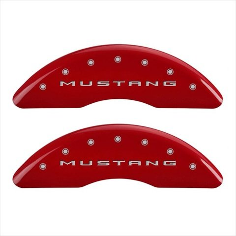 MGP Caliper Covers 10204SMB2RD Mustang Red Caliper Covers - Engraved Front & Rear, Set of 4