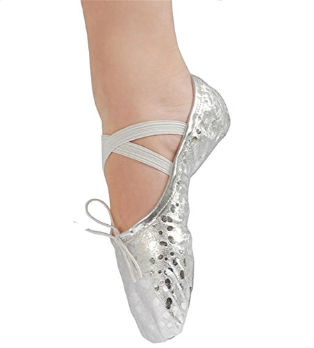 Staychicfashion Polka Dot Leder Ballett Bauch Hausschuhe Tanzschuhe Split-Sole Gymnastik Yoga Schuhe für Frauen Silber / Punkt