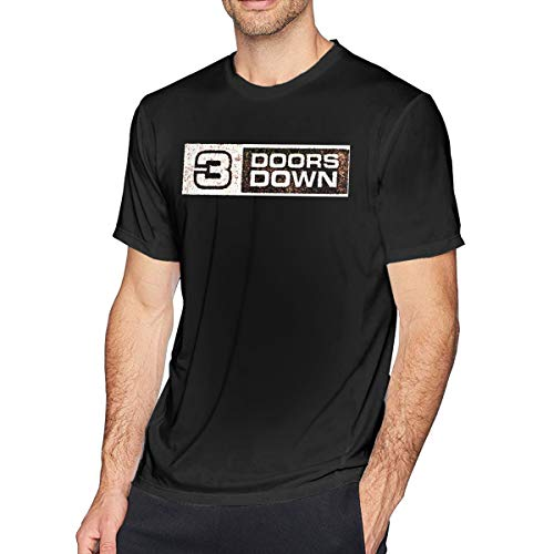 3 Doors Down Men Shirts Casual Standard Fit Short Sleeve Basic Summer T Shirt Black (3 Doors Down Best Of)