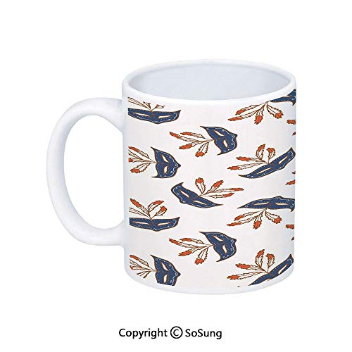Masquerade Coffee Mug,Party Mask Mid Century Disguise Night Costume Event Illustration Print,Printed Ceramic Coffee Cup Water Tea Drinks Cup,Cream and Bluegrey