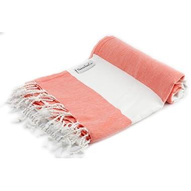 Cabana Striped 100% Cotton Peshtemal Turkish Bath Towel and Turkish Towels Beach Towel for Beach Bath Swimming Pool Yoga Pilates Hammam Fouta Picnic Blanket Scarf Wrap (Coral)