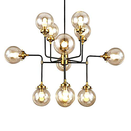 12-Light Chandelier Pendant Clear Glass,Classic Mid Century Modern Lighting Fixture for Living Room,Dining Room, Bedroom or Kitchen Island,Gold ()