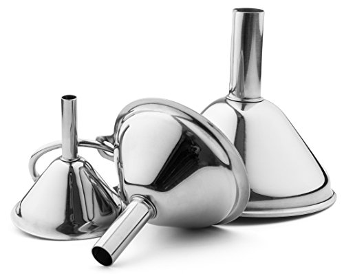Bellemain Small Funnel Set 3-Piece Stainless Steel for Spices, Essentail Oil, and Flask Funnel -