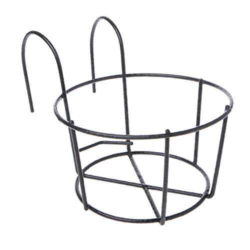 Poity Hanging Plant Iron Racks Balcony Round Flower Pot Rack Railing Fence Outdoor Black