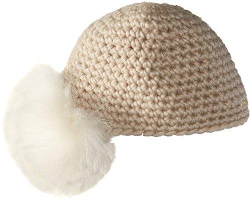 JvH Vintage Crotchet Flapper Hat with Fox Fur Side Pom, Oatmeal by JvH