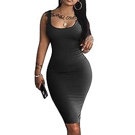 LAGSHIAN Women's Sexy Bodycon Tank Dress Sleeveless Basic Midi Club Dresses