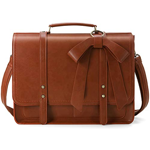 ECOSUSI Women Briefcase PU Leather Laptop Shoulder Satchel Computer Bag with Detachable Bow fits 15.6 inch Laptops, Brown ()
