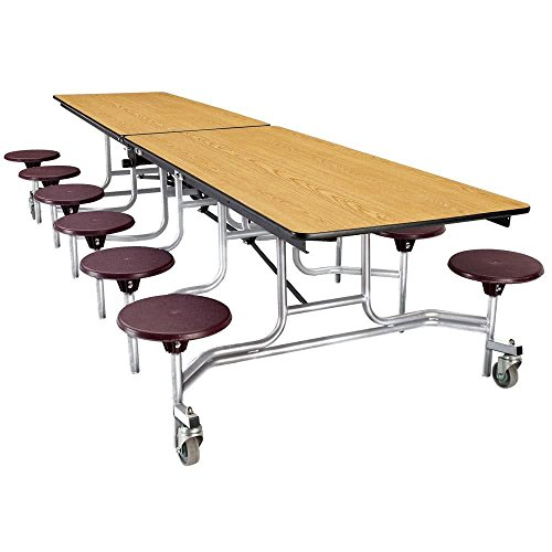 TableTop king Seating MTS10 10 Foot Mobile Cafeteria Table with MDF Core and 12 Stools
