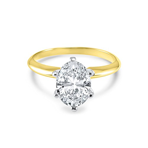 Oval CZ Cubic Zirconia Engagement Ring 6 Prong 1.5 Carat 14K Yellow Gold (8.5)