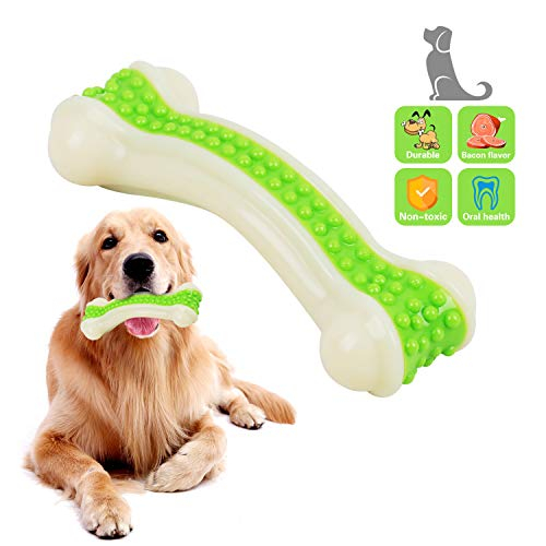 EETOYS Dog Toys for Aggressive Chewers, Indestructible Tough Durable Non-Toxic Nylon Dental Care Chew Toys Bone for…