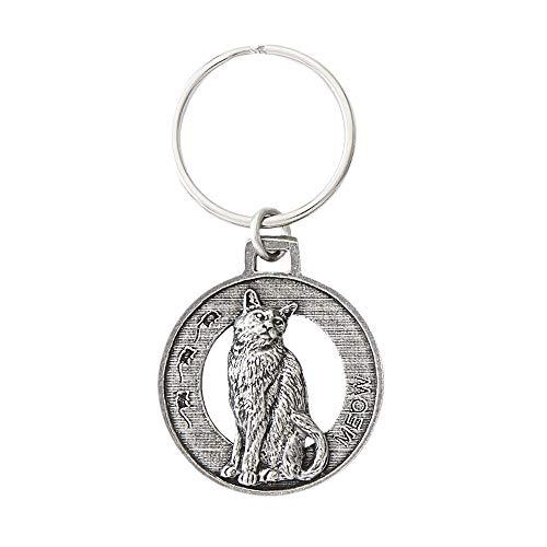 Cat Sitting Pewter Key Chain, Key Fob, Key Ring, Gift, C001KC
