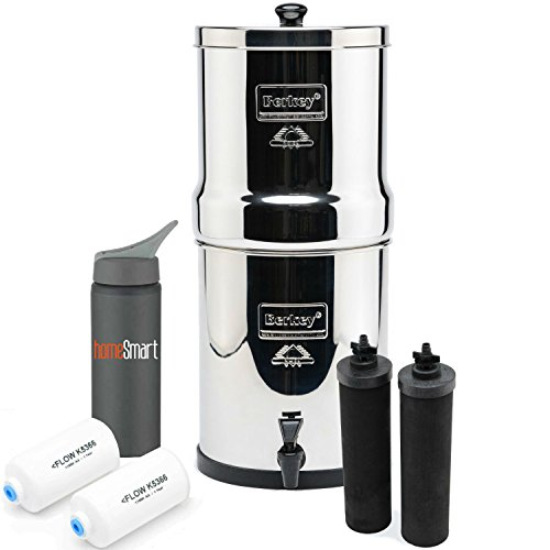 Big Berkey Stainless 2 Gal Stainless Steel Premium Water Filter Bundle - 2 BB9 & 2 Fluoride Filters w/Homesmart 25oz Water Bottle ((2.25 gal) Big Berkey) by Homesmart