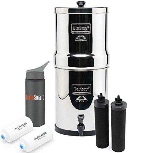 Big Berkey Stainless 2 Gal Stainless Steel Premium Water Filter Bundle - 2 BB9 & 2 Fluoride Filters w/Homesmart 25oz Water Bottle ((2.25 gal) Big Berkey) by Smarthome